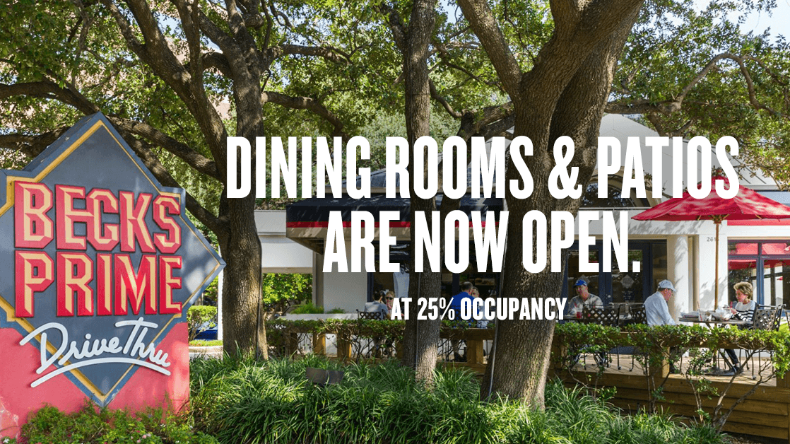 Dining Rooms and Patios are Now Open. At 25% Occupancy.